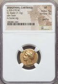 Ancients:Greek, Ancients: ZEUGITANA. Carthage. Ca. 320-270 BC. EL stater (7.12 gm).NGC VF 5/5 - 3/5, graffito....