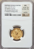 Ancients:Roman Imperial, Ancients: Leo I (AD 457-474). AV solidus (4.47 gm). NGC MS 5/5 -3/5, graffito....