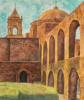 Works on Paper, Olin Travis (American, 1888-1975). Mission San Jose, circa 1945. Watercolor on paper. 16 x 13-1/2 inches (40.6 x 34.3 cm...