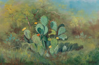 Robert William Wood (American, 1889-1979) Prickly Pear Cactus Oil on canvas 16 x 24 inches (40.6