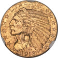 Indian Half Eagles, 1913-S $5 MS62+ NGC....