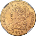 Early Half Eagles, 1811 $5 Small 5, BD-2, R.3 -- Improperly Cleaned -- NGC Details. AU....