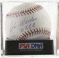 "Autographs:Baseballs, John Wooden ""UCLA"" Single Signed Baseball, PSA Mint+ 9.5.Basketball coaching legend John Wooden has added a ""UCLA""inscript..."