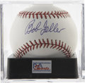Autographs:Baseballs, Bob Feller Single Signed Baseball, PSA Mint+ 9.5. Glorious blue inkapplication of the Hall of Fame ace Bob Feller's signat...