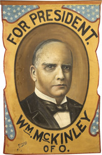 McKinley & Roosevelt: Two Spectacular Large Hand-Painted Cloth Campaign Banners