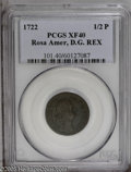 Colonials: , 1722 1/2P Rosa Americana Halfpenny, D. G. XF40 PCGS. Breen-133.UTILE DULCI. Stops after REX and 1722. This medium brown im...