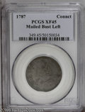 Colonials: , 1787 COPPER Connecticut Copper, Mailed Bust Left XF45 PCGS. M.13-D, R.2. A glossy dark brown piece, relatively unmarked bu...