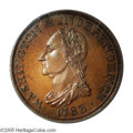 Colonials: , 1783 1C Washington & Independence Cent, Draped Bust, Copper Restrike, Engrailed Edge PR66 Brown PCGS. Baker-3. This gorgeou...