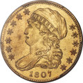 Early Half Eagles, 1807 $5 Bust Left, BD-8, R.2 -- Cleaning -- PCGS Genuine. AUDetails....