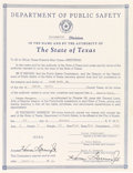 Miscellaneous:Ephemera, Texas Ranger Frank Hamer, Jr.: State of Texas Appointment....