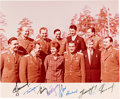 Explorers:Space Exploration, Soviet Vostok and Voskhod Cosmonauts: Color Photo Signed by Nine Including Gagarin. ...