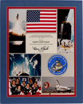 Explorers:Space Exploration, Space Shuttle Endeavour (STS-49) (Maiden Flight) FlownAmerican Flag and Patch on Matted Presentation Display Sign...
