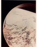 Autographs:Celebrities, Gherman Titov Signed First Color Photograph of Earth Taken by Manfrom Orbit. ...