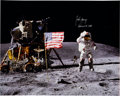 "Autographs:Celebrities, John Young Signed Large Lunar Surface ""Leaping Flag Salute"" ColorPhoto. ..."