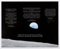 "Autographs:Celebrities, Apollo 8 Large ""Earthrise"" Color Photo Signed by Mission Commander Frank Borman. ..."
