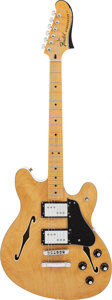 Musical Instruments:Electric Guitars, Fender Starcaster Natural Semi-Hollow Body Electric Guitar, #CGF1307937....
