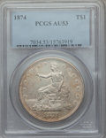 Trade Dollars: , 1874 T$1 AU53 PCGS. PCGS Population: (12/133). NGC Census: (3/111).Mintage 987,100. ...