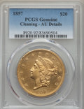 Liberty Double Eagles: , 1857 $20 -- Cleaning -- PCGS Genuine. AU Details. NGC Census: (48/352). PCGS Population: (51/196). CDN: $2,300 Whsle. Bid f...
