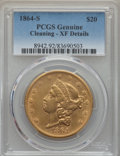 Liberty Double Eagles: , 1864-S $20 -- Cleaning -- PCGS Genuine. XF Details. NGC Census: (70/738). PCGS Population: (125/476). CDN: $2,000 Whsle. Bi...