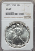 Modern Bullion Coins: , 1988 $1 Silver Eagle MS70 NGC. NGC Census: (420). PCGS Population: (27). ...