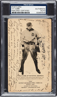 1907 Seamless Steel Tubes Post Card Ty Cobb Rookie with Cobb Handwritten & Signed Baseball-Related Message, PSA/DNA...