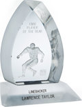 Football Collectibles:Others, 1986 NFL Alumni Player of the Year Award Presented to Lawrence Taylor....