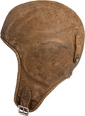 Transportation:Aviation, Aviation History: Aviatrix Leather Flying Cap Signed by OrvilleWright and Others.... (Total: 3 Items)