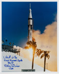 Autographs:Celebrities, Wally Schirra Signed Apollo 7 Launch Color Photo....