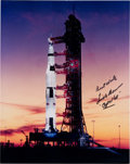 Autographs:Celebrities, Frank Borman Signed Apollo 8 Launchpad Color Photo. ...