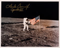 "Autographs:Celebrities, Charles Conrad Signed Apollo 12 Lunar Surface ""Flag"" Color Photo...."