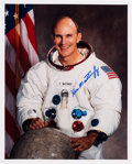 Autographs:Celebrities, Ken Mattingly Signed White Spacesuit Color Photo. ...