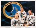 Autographs:Celebrities, Apollo 14 Crew-Signed White Spacesuit Color Photo. ...
