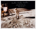 "Autographs:Celebrities, Charlie Duke Signed Apollo 16 Lunar Surface ""Flag Salute"" ColorPhoto...."