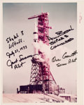 "Autographs:Celebrities, Skylab II (SL-3) Crew-Signed Original NASA ""Red Number"" LaunchpadColor Photo...."