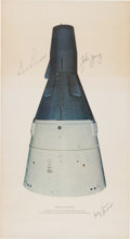 "Explorers:Space Exploration, Gemini 3 Crew-Signed Original ""Gemini Spacecraft"" Print byMcDonnell. ..."