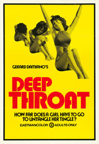 "Deep Throat (Aquarius Releasing, 1972). One Sheet (28"" X 40.5"")"