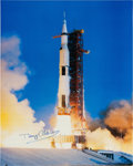 Autographs:Celebrities, Buzz Aldrin Signed Large Apollo 11 Launch Color Photo Originally from His Personal Collection. ...