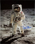 "Autographs:Celebrities, Buzz Aldrin Signed Large Lunar Surface ""Visor"" Color Photo Originally from His Personal Collection...."
