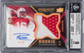 Football Cards:Singles (1970-Now), 2012 Upper Deck Exquisite Collection Russell Wilson Rookie GoldHolofoil Jersey Autograph Numbered 42 out of 50 BGS Mint 9 - 1...