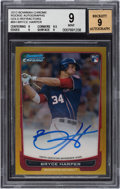 Baseball Cards:Singles (1970-Now), 2012 Bowman Chrome Bryce Harper Gold Refractor Rookie Autographs Numbered 43 out 50 #BH BGS Mint 9 - 9 Autograph. ...