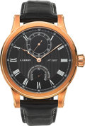 Timepieces:Wristwatch, L. Leroy Marine Deck Chronometer 18k Rose Gold Wristwatch No. 2287,Ref. LL201 . ...