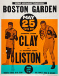 Boxing Collectibles:Memorabilia, 1965 Cassius Clay (Muhammad Ali) vs. Sonny Liston On-Site BostonGarden Poster Signed by Liston!...