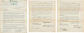 Golf Collectibles:Autographs, 1930's Wilson Golf Endorsement Contracts Lot of 3 with Manero,Guldahl & Farrell....