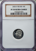 Proof Roosevelt Dimes, 2003-S 10C Silver PR70 Ultra Cameo NGC. NGC Census: (1582). PCGSPopulation: (882). ...