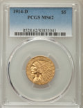 Indian Half Eagles: , 1914-D $5 MS62 PCGS. PCGS Population: (580/566). NGC Census:(631/447). CDN: $900 Whsle. Bid for problem-free NGC/PCGS MS62...