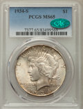 Peace Dollars: , 1934-S $1 MS65 PCGS. CAC. PCGS Population: (189/30). NGC Census:(74/13). CDN: $7,650 Whsle. Bid for problem-free NGC/PCGS ...