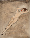 Mainstream Illustration, David Wright (British, 1912-1967). Lounging Nude. Watercolorand gouache on board. 14.25 x 11.25 in. (image). Initialed ...