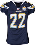 Football Collectibles:Uniforms, 2010 Jacob Hester Game Worn, Unwashed San Diego Chargers Jersey - Used 1/17 vs. Jets in Divisional Playoff Game....