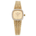 Estate Jewelry:Watches, Lady's Universal Geneve Diamond, Gold Quartz Watch. ...