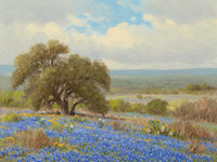 Porfirio Salinas (American, 1910-1973) Bluebonnets and Distant Hills Oil on canvas 12 x 16 inches
